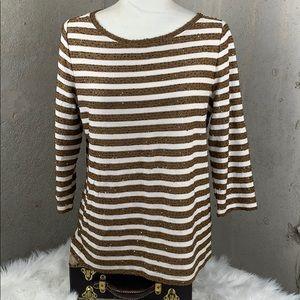 Talbots Sequin Gold/Cream Horizontal Stripes Med.
